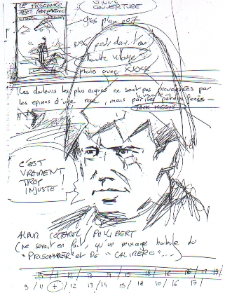 Patrick McGoohan in an eggshell - except from the storyboard, by P. Cottarel